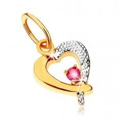 Pandantiv în două culori din aur 9K - contur de inimă cu rubin roz închis, placat cu rodiu - Pandantiv aur