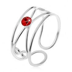 Inel realizat din argint 925 - zirconiu roșu rotund, buclă dublă, ajustabil - Inel argint
