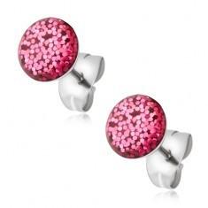 Cercei cu şurub din oţel, cu sclipici roz - Cercei inox
