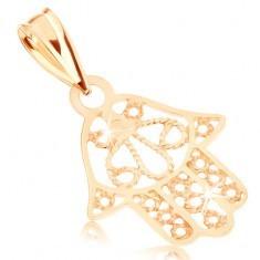 Pandantiv, aur galben de 9K - mâna Fatimei, decupaje decorative