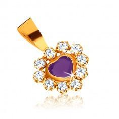 Pandantiv din aur 375 - inimă ametist violet, bordură zirconii strălucitoare - Pandantiv aur