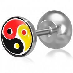 Plug fals pentru ureche, motiv Yin-Yang colorat