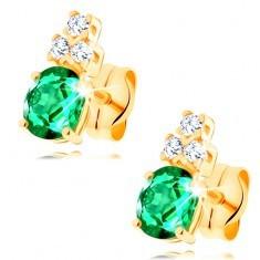 Cercei din aur galben de 14K - smarald verde oval, trei zirconii transparente foto mare