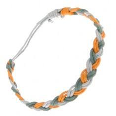 Brățară împletită realizată din șnururi verzi, portocalii și albastre - Bratara prieteniei