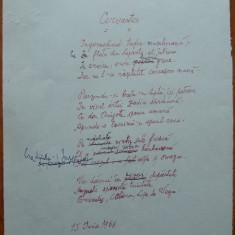 Poezie in manuscris, Victor Eftimiu ; Cervantes, 1968, mason, aroman - Autograf