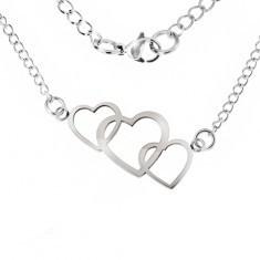 Colier realizat din oțel inoxidabil, trei contururi inimă suprapuse - Colier inox