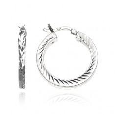 Cercei argint 925 - inele cu boburi gravate, 25 mm