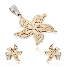 Set din oțel - pandantiv în două nuanțe și cercei, floare ondulată sablată foto