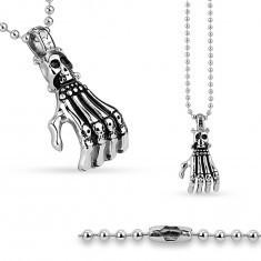 Colier din oțel chirurgical, lanț din bile și mână de schelet, craniu - Colier inox