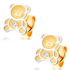 Cercei din aur 585 - ursuleţ bicolor cu suprafață mată, contur lucios - Cercei aur, 14k