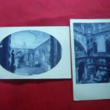 2 Ilustrate Castelul Peles - Sinaia -Sala Imperiala si Holul 1929 - Carte Postala Muntenia dupa 1918, Necirculata, Printata