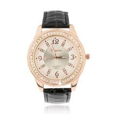Ceas din oţel auriu-roz - fundalul cadranului roz pal, zirconiu - Ceas dama