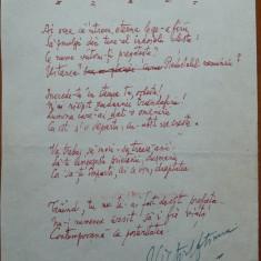Manuscris Victor Eftimiu ;As vrea sa-ntreci eterna lege-a firii, mason, aroman - Autograf
