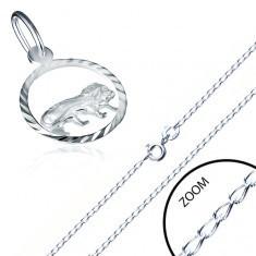 Lanţ şi pandantiv din argint, semn zodiacal LEU