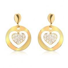 Cercei din aur, cercuri plate cu decupaj, inimă cu zirconii - Cercei aur