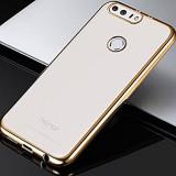 Husa HUAWEI Honor 8 TPU Margine Gold, Alt model telefon Huawei, Transparent, Gel TPU