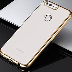 Husa HUAWEI Honor 8 TPU Margine Gold - Husa Telefon Huawei, Transparent, Gel TPU, Fara snur, Carcasa