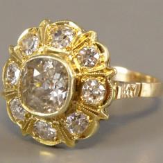 Inel cu diamante. Bijuterie de epoca (conditie foarte buna) - Inel diamant, Carataj aur: Nespecificat, Culoare: Galben