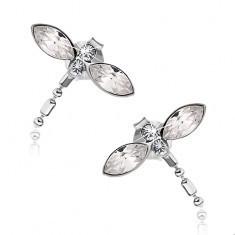 Cercei din argint 925, libelulă cu cristale Swarovski transparente, șuruburi - Cercei argint