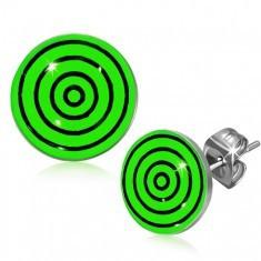 Cercei cu şurub din oţel, cercuri negre şi verzi - Cercei inox