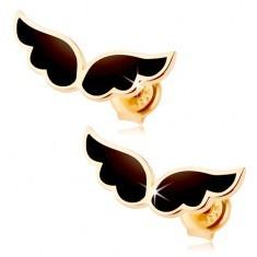 Cercei realizați din aur galben de 14K - o pereche de aripi de înger, email negru