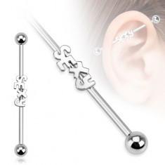 Piercing pentru ureche din oţel - un barbell cu inscripţia SEXY şi zirconiu - Piercing ureche