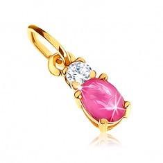 Pandantiv din aur galben 9K - rubin oval roz închis, zirconiu transparent - Pandantiv aur