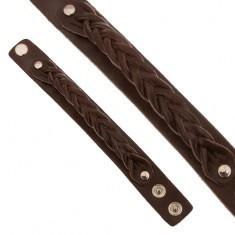 Brăţară din piele maro ciocolatiu, bandă împletită - Bratara piele