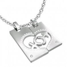 Pandantiv din inox pentru cupluri - medalioane, inimă, simboluri de gen, zircon - Pandantiv inox