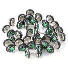 Plug fals pentru ureche, din oțel, frunză verde de marijuana - Piercing ureche