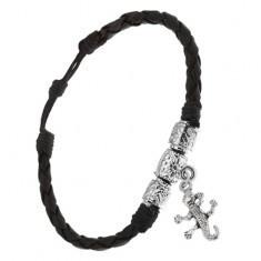 Brățară neagră împletită din imitație de piele, trei cilindri ornamentali, crocodil - Bratara prieteniei
