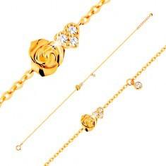 Brățară din aur galben de 14K - trandafir și inimă din zirconiu transparent, 185 mm - Bratara aur
