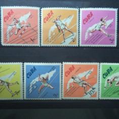 CUBA 1965 – SPORT, ATLETISM, HARTA, serie MNH, A161 - Timbre straine, Nestampilat