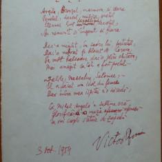 Poezie de Victor Eftimiu ; Statuia de zapada, 1954, mason, aroman - Autograf