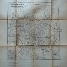 Harta administrativa a Municipiului Bucuresti, 1929, 70 x 65 cm