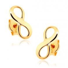 Cercei din aur 375 - simbol al infinitului lucios - Cercei aur