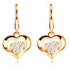 Cercei din aur 585 - inimă transparentă strălucitoare cu contur lucios, cu tortițe - Cercei aur