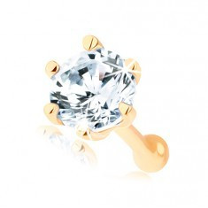 Piercing drept pentru nas din aur galben 14K - zirconiu rotund transparent
