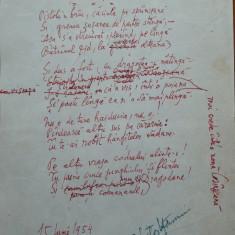 Poezie in manuscris, Victor Eftimiu ; Si dus a fost, 1954, mason, aroman - Autograf