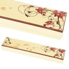Cutie pentru brățară - galben deschis cu flori roz lungi - Cutie Bijuterii