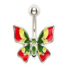 Piercing pentru buric, fluture colorat - Piercing buric