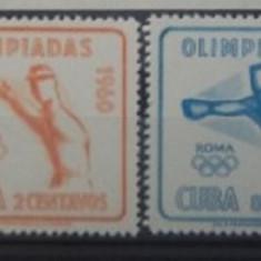 CUBA 1960 – SPORT OLIMPIADA ROMA, serie MNH, A101 - Timbre straine, Nestampilat