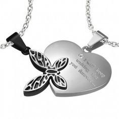 Pandantiv din inox pentru iubiţi - inimă, fluture - Pandantiv inox