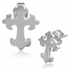Cercei cu șuruburi din oțel inoxidabil - cruce lucioasă sub formă de crin - Cercei inox
