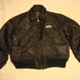 Geaca barbateasca/barbati tip pilot/aviator ALPHA INDUSTRIE neagra, made in USA - Geaca barbati, Marime: XL, Culoare: Negru, Poliester