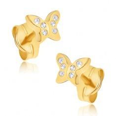 Cercei din aur galben 14K - fluturași cu zirconii - Cercei aur