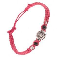 Brățară împletită din șnur roz închis, ornament spirală - Bratara prieteniei