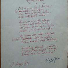 Poezie in manuscris, Victor Eftimiu ; Explozii stelare, 1954, mason, aroman - Autograf
