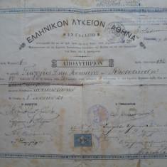 Diploma greceasca din 1921 cu echivalare in limba romana, plus document - Diploma/Certificat