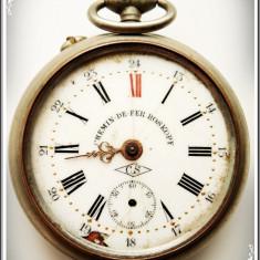VECHI CEAS ELVEȚIAN DE BUZUNAR CHEMIN-DE-FER ROSKOPF C.S ARGENTAN, NEFUNCȚIONAL! - Ceas de buzunar vechi